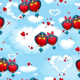 Modèle avec des oiseaux en forme de coeurs contre le ciel et les nuages. la saint valentin.