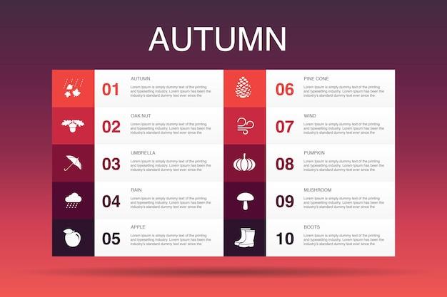 Modèle d'option d'infographie 10 d'automne. noix de chêne, pluie, vent, icônes simples de citrouille