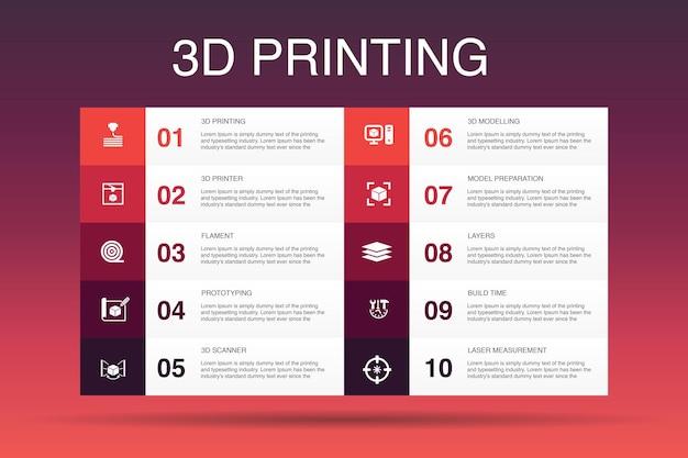 Modèle d'option d'infographie 10 d'impression 3d. imprimante 3d, filament, prototypage, icônes simples de préparation de modèle