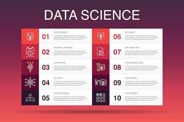 Modèle d'option d'infographie 10 de science des données. apprentissage automatique, big data, base de données, icônes simples de classification