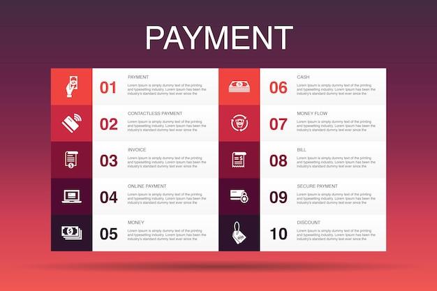 Modèle d'option d'infographie de paiement 10. facture, argent, facture, icônes simples de remise