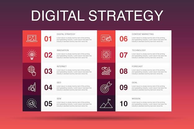 Modèle d'option d'infographie de stratégie numérique 10. internet, référencement, marketing de contenu, icônes simples de mission