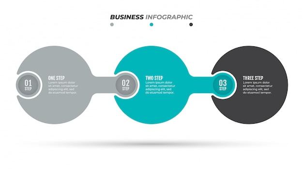 Modèle d'option numéro infographie abstraite. chronologie avec 3 options, étapes, processus.