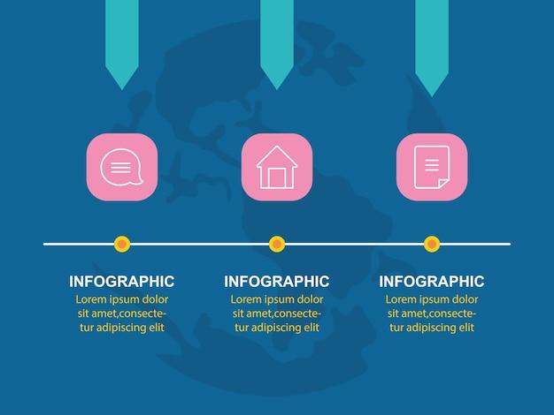 Modèle d'options de flèches de chronologie de présentation infographique