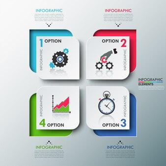 Modèle d'options d'infographie moderne avec des feuilles de papier
