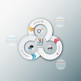 Modèle d'options d'infographie moderne avec des rubans
