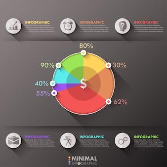 Modèle d'options infographiques minimes avec camembert