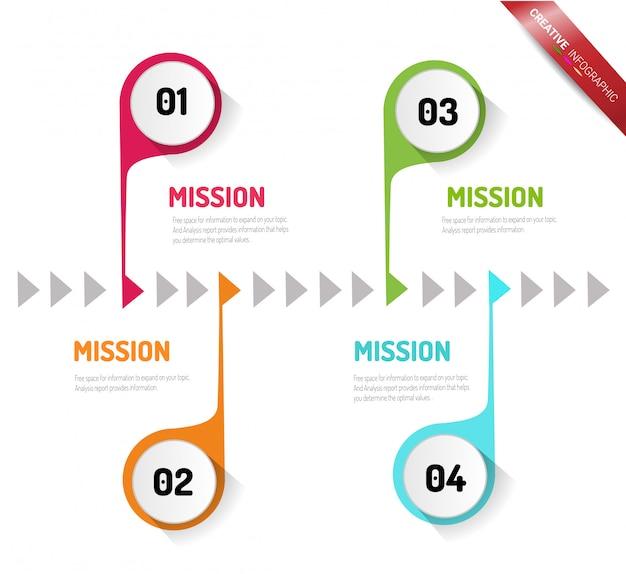 Modèle d'options de nombre infographie abstraite avec étapes