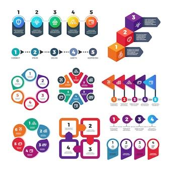 Modèle d'options de nombre infographie abstraite. tableau d'informations, diagramme de marketing de flux de travail avec ensemble de vecteurs d'étapes