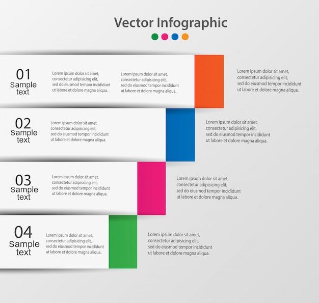 Modèle d'options de numéro infographie abstraite en quatre étapes