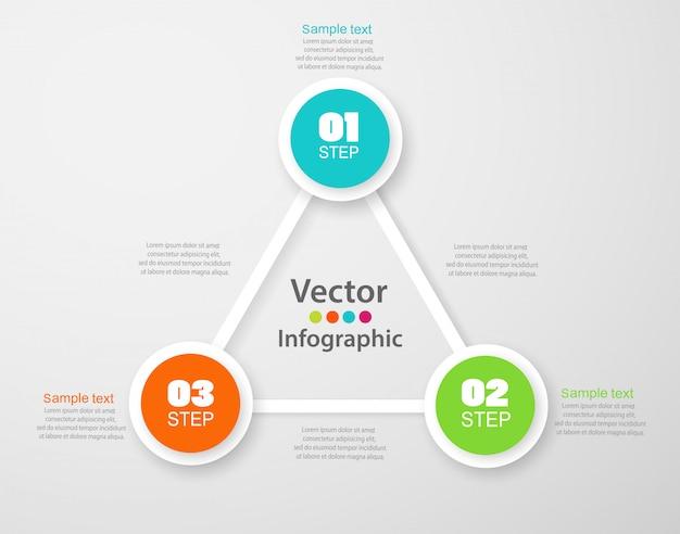 Modèle d'options de numéro d'infographie avec cercles colorés et 3 étapes