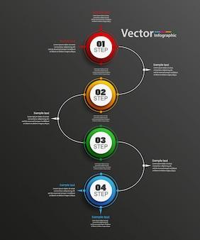 Modèle d'options de numéro infographie vectorielle abstraite avec 4 étapes