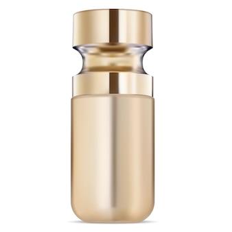 Modèle d'or de bouteille cosmétique de sérum. huile liquide
