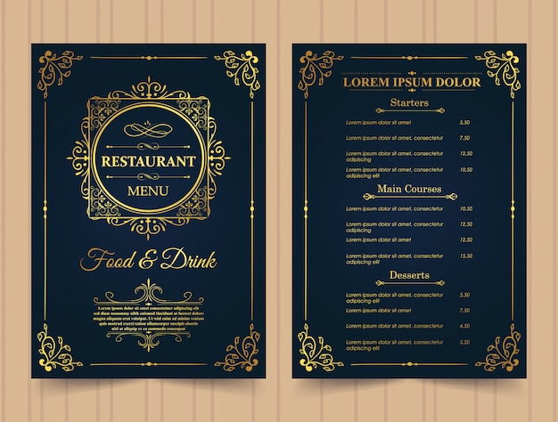 Modèle d'or de menu de restaurant.