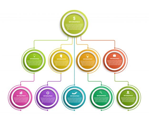Modèle d'organigramme hiérarchique de conception infographique.