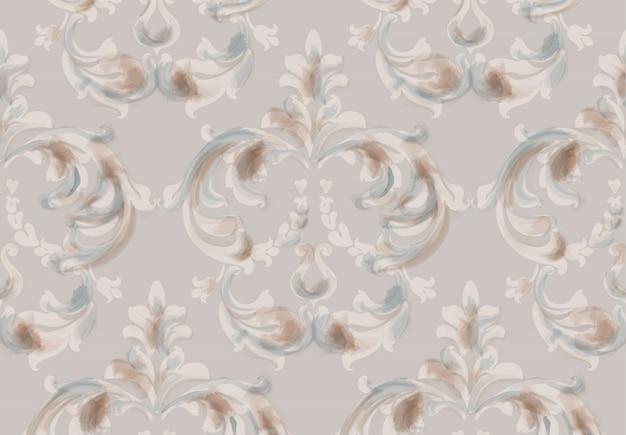 Modèle d'ornement baroque arabe. décors tendance glacés à l'aquarelle