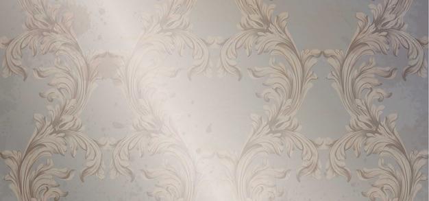 Modèle d'ornement baroque de vecteur. vieux fond glacé de papier. déco vintage tissu doux te