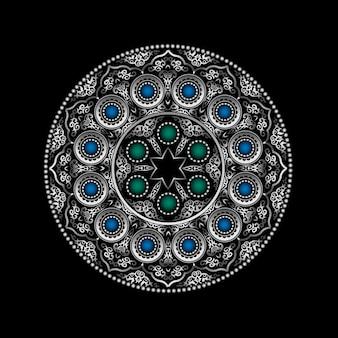 Modèle d'ornement rond en argent 3d avec pierres précieuses bleues et vertes - style arabe, islamique et oriental