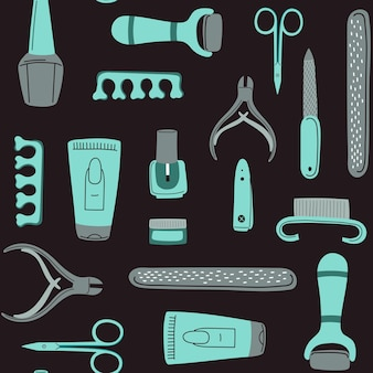 Modèle d'outils de manucure sans couture concept d'art d'ongle avec ciseaux polonais etc.