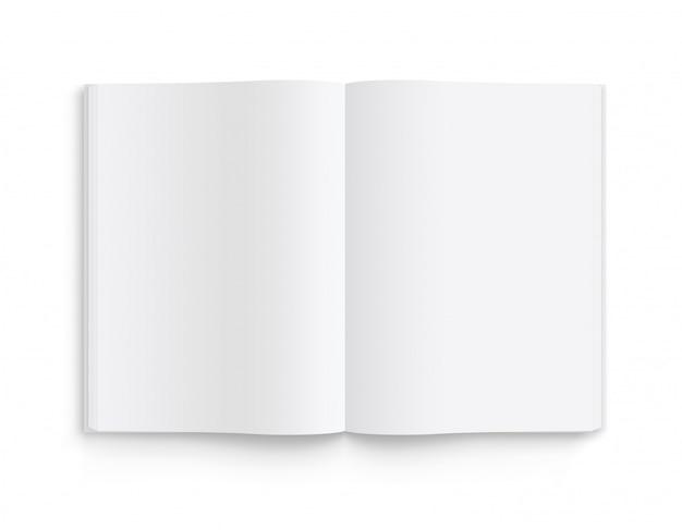Modèle ouvert de livre, magazine et cahier ouvert avec des ombres douces. vue de face.