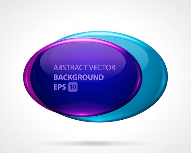 Modèle d'ovales géométriques abstraites. deux disques en verre avec dégradé lumineux violet et bleu.