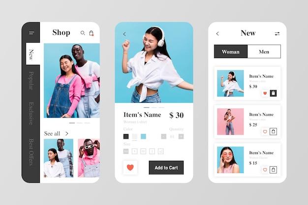 Modèle de pack d'applications de shopping de mode