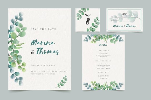 Modèle de pack d'invitation de mariage
