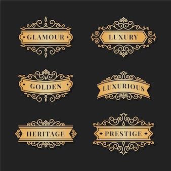 Modèle de pack logo luxe rétro