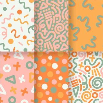 Modèle de pack de motifs dessinés à la main abstraite