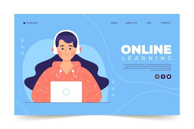 Modèle de page d'accueil d'apprentissage en ligne dessiné à la main