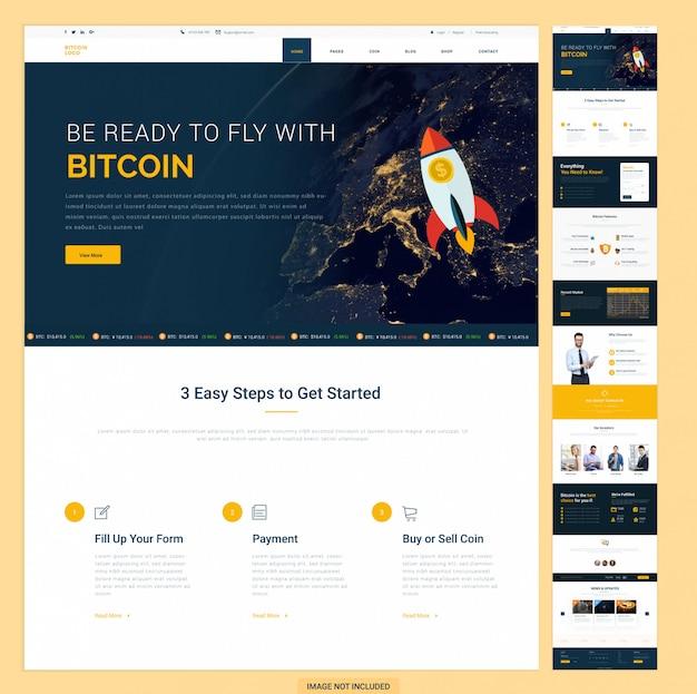 Modèle de page d'accueil du site web bitcoin