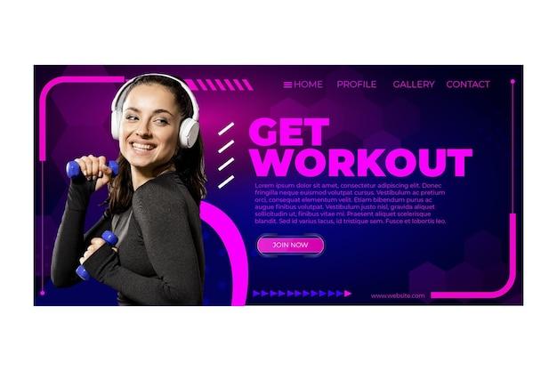 Modèle de page d'accueil d'entraînement avec photo