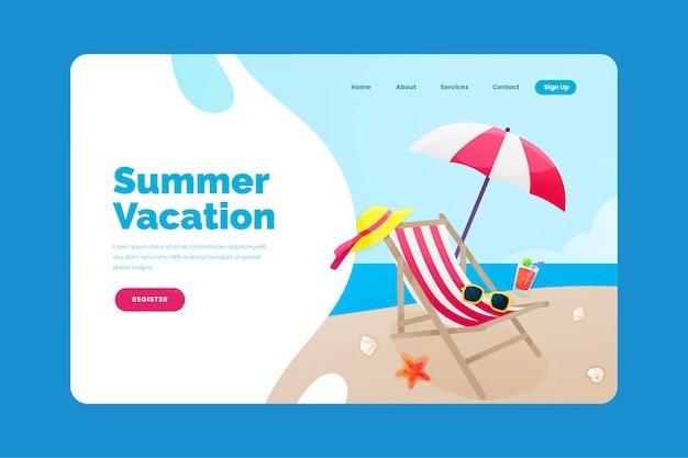 Modèle de page d'accueil d'été