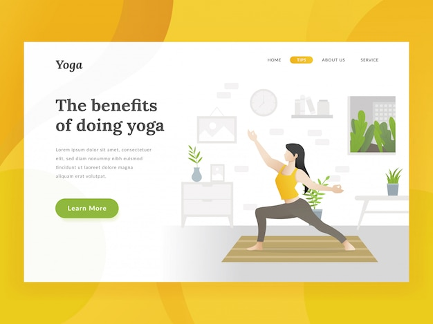 Modèle de page d'accueil pour le yoga à domicile