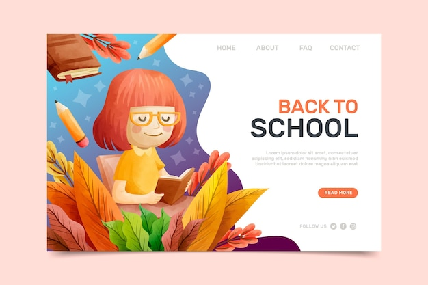 Modèle de page d'accueil de retour à l'école avec des illustrations