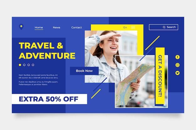 Modèle de page d'accueil de vente de voyage avec photo