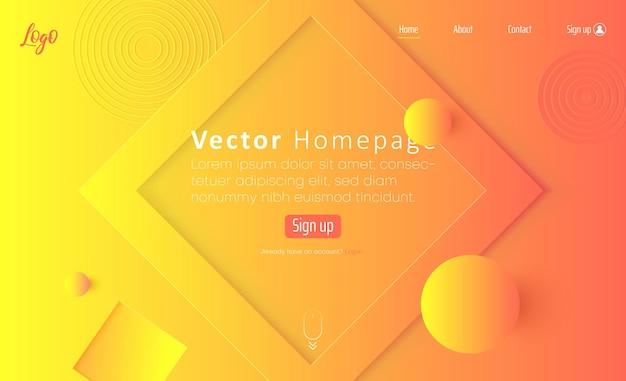 Modèle de page d'accueil web à spectre orange et jaune