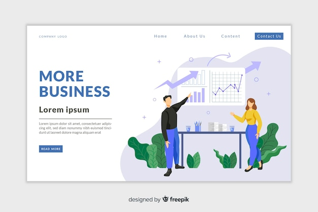 Modèle de page d'analyse d'entreprise avec photo