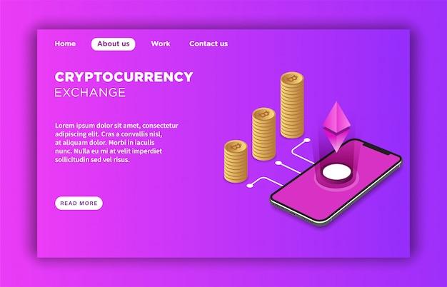 Modèle de page d'arrivée exchange de crypto-monnaie