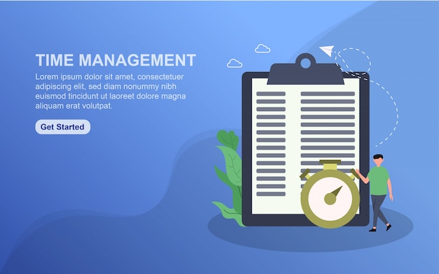 Modèle de page d'arrivée de gestion du temps