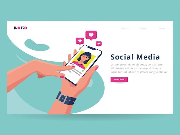 Modèle de page d'arrivée de médias sociaux