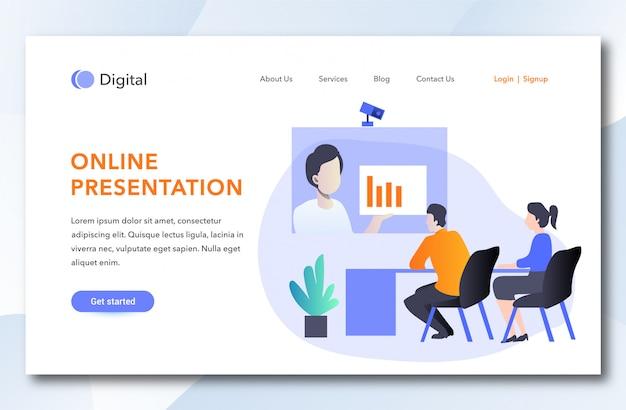 Modèle de page d'arrivée de présentation en ligne