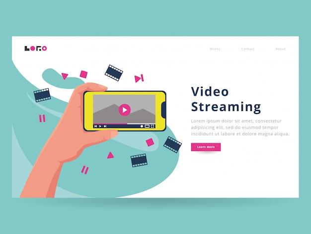 Modèle de page d'arrivée en streaming vidéo