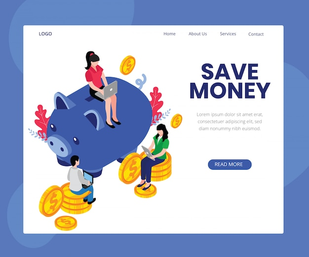 Modèle de page d'atterrissage avec artwork concept of save money