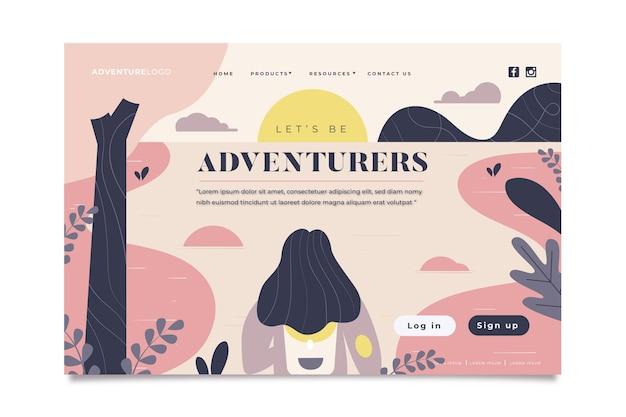 Modèle de page d'atterrissage aventure
