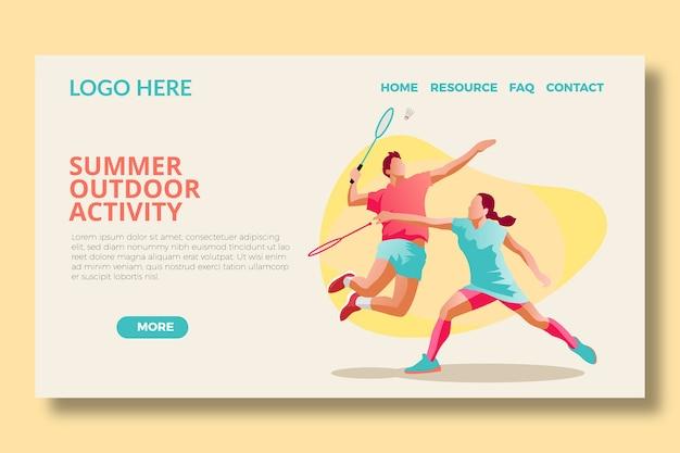Modèle de page d & # 39; atterrissage de badminton