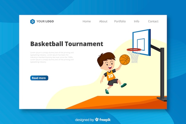 Modèle de page d'atterrissage de basket-ball plat