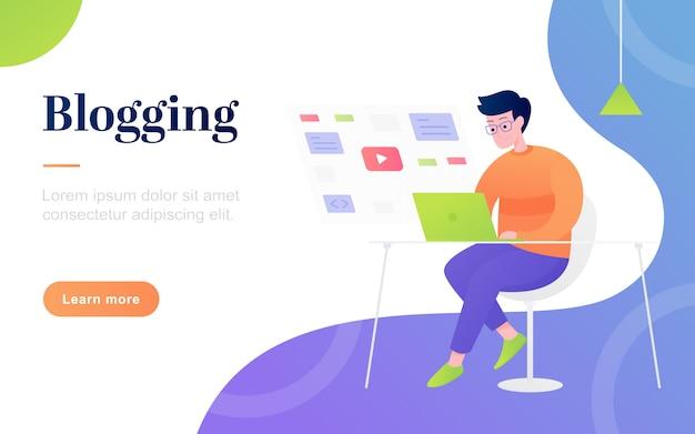 Modèle de page d'atterrissage de blogging plat moderne