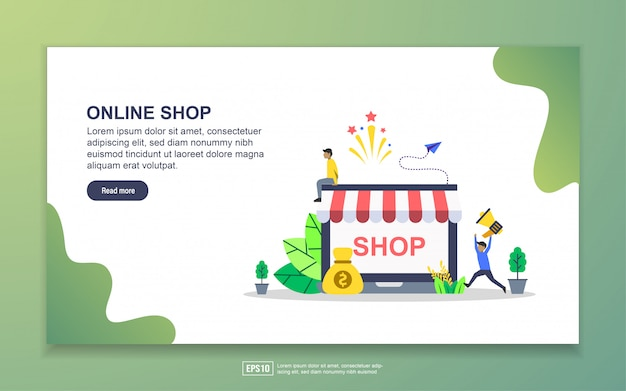 Modèle de page d'atterrissage de la boutique en ligne. concept de design plat moderne de conception de page web pour site web et site web mobile