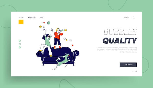 Modèle de page d'atterrissage de bulles de savon pour enfants.